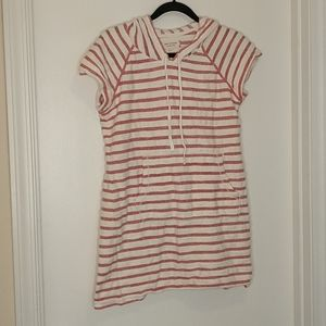 Max studio weekend red white striped hooded dress